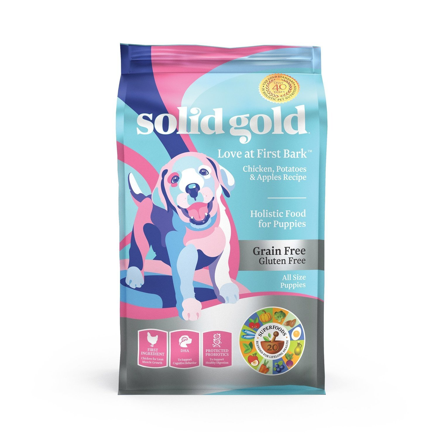 Solid Gold Love At First Bark Chicken, Sweet Potato & Apple Grain Free Dry Puppy 4 lbs (2/19) (A.P1)