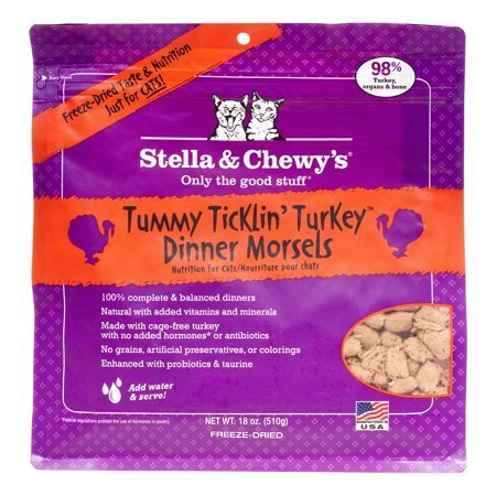 Stella & Chewy's Dinner Morsels Grain-Free Turkey Freeze Dried Cat Food, 18 oz (2/19) (T.D5)