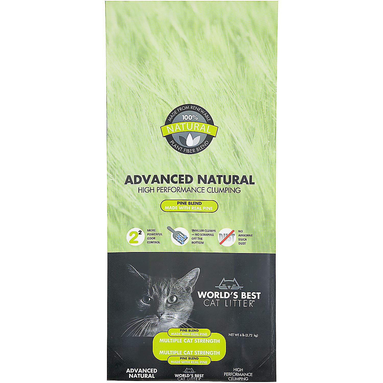 World's Best Cat Litter Advanced Natural High Performance Clumping Pine Blend, 6 lbs (A.Q5)