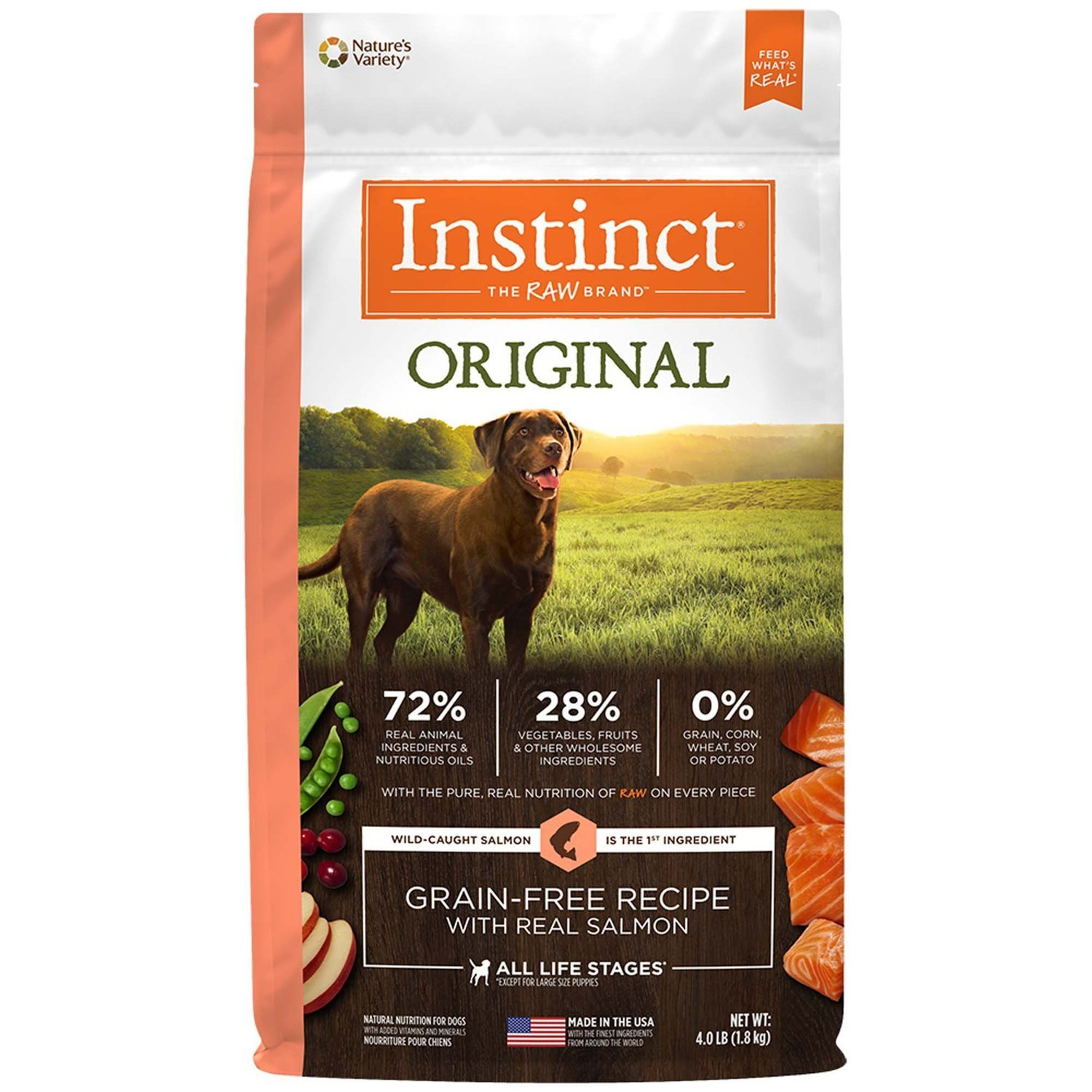 Nature's Variety Instinct Original Grain Free Salmon Dry Dog Food, 4 lbs. (2/19) (A.J3)