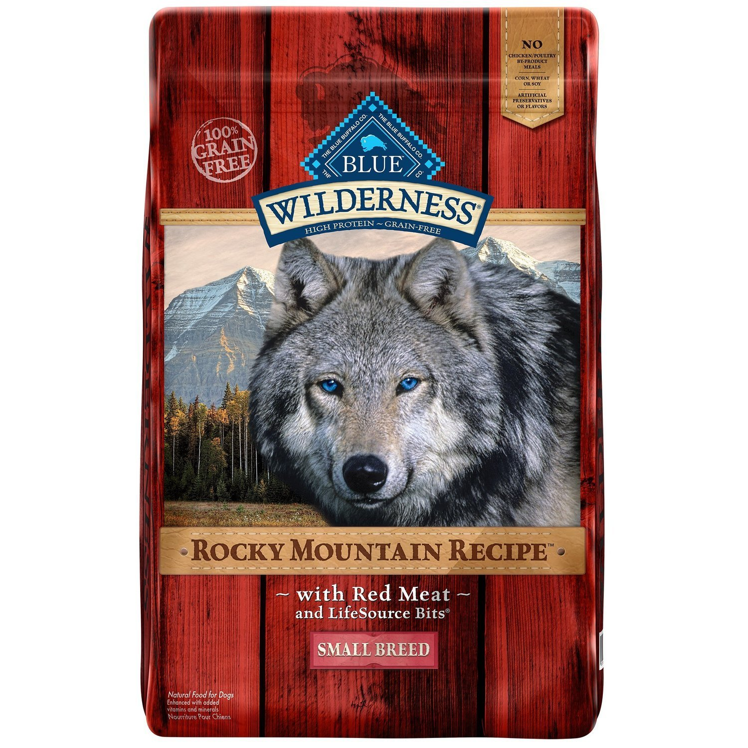 Blue Buffalo Wilderness Adult Rocky Mtn Recipes Red Meat Small Breed Grain Free Dog Food 10.25 lbs (10/18) (A.M2/M3)