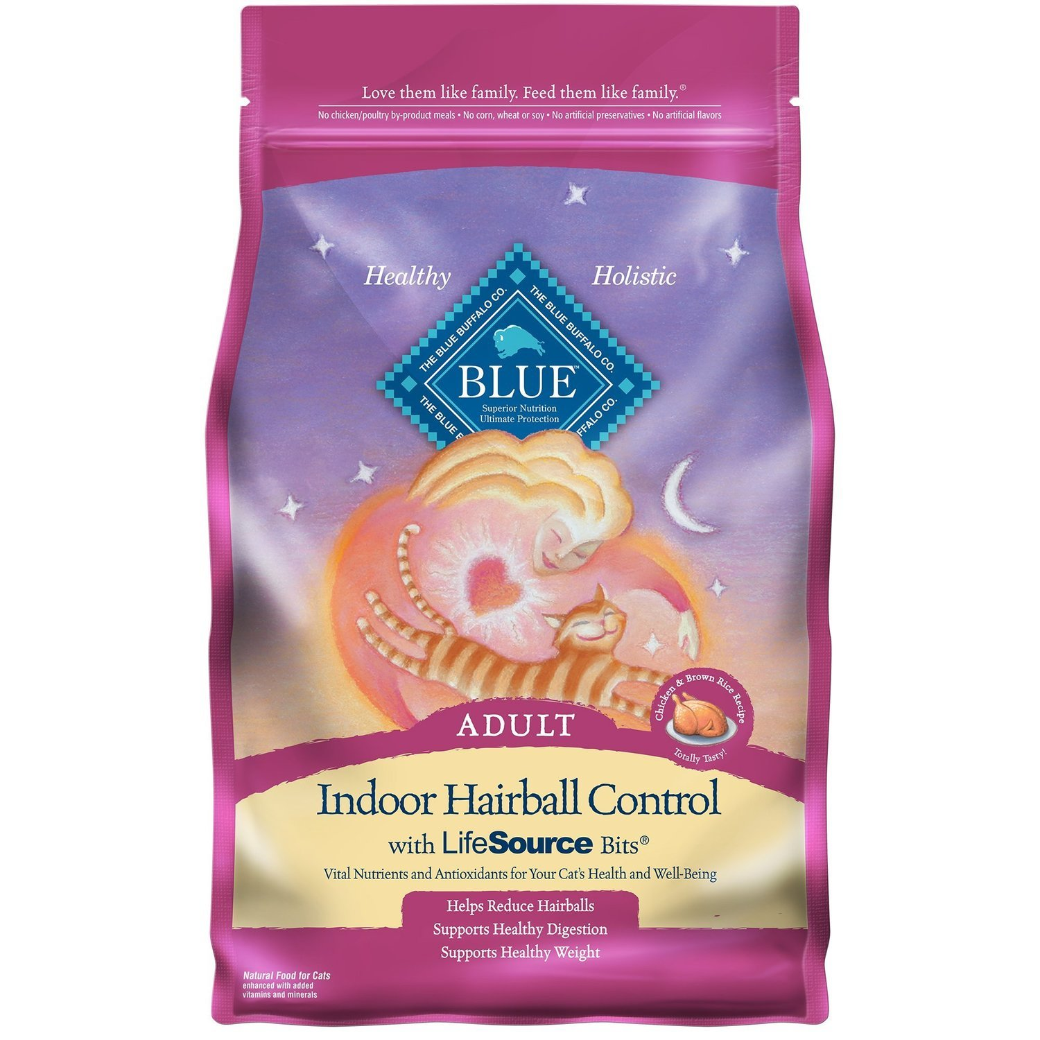 Blue Buffalo Indoor Hairball Control Chicken & Brown Rice Adult Cat Food, 7 lbs. (10/18) (A.P6)