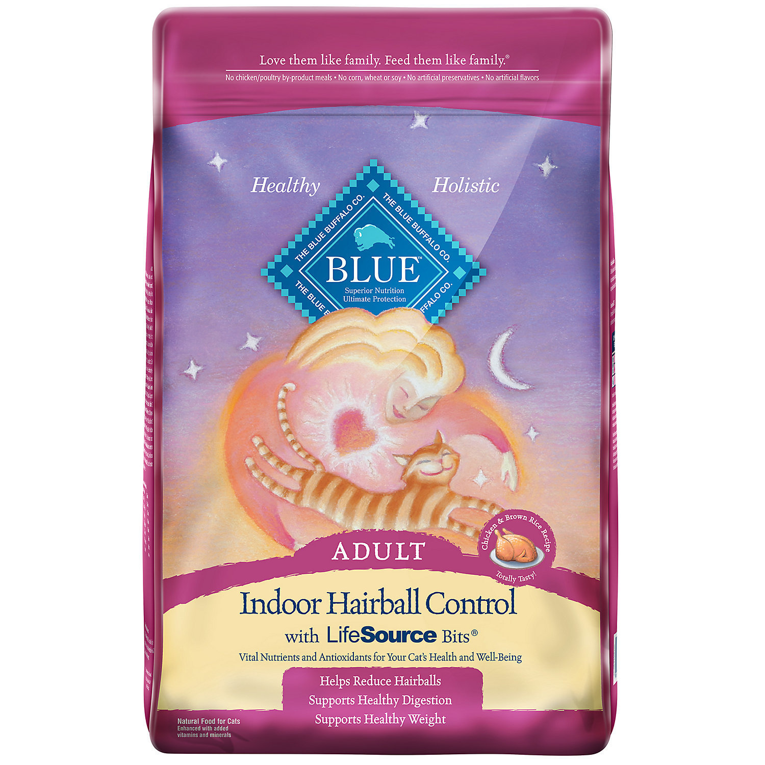 Blue Buffalo Indoor Hairball Control Chicken & Brown Rice Adult Cat Food, 15 lbs (9/18) (A.P2)