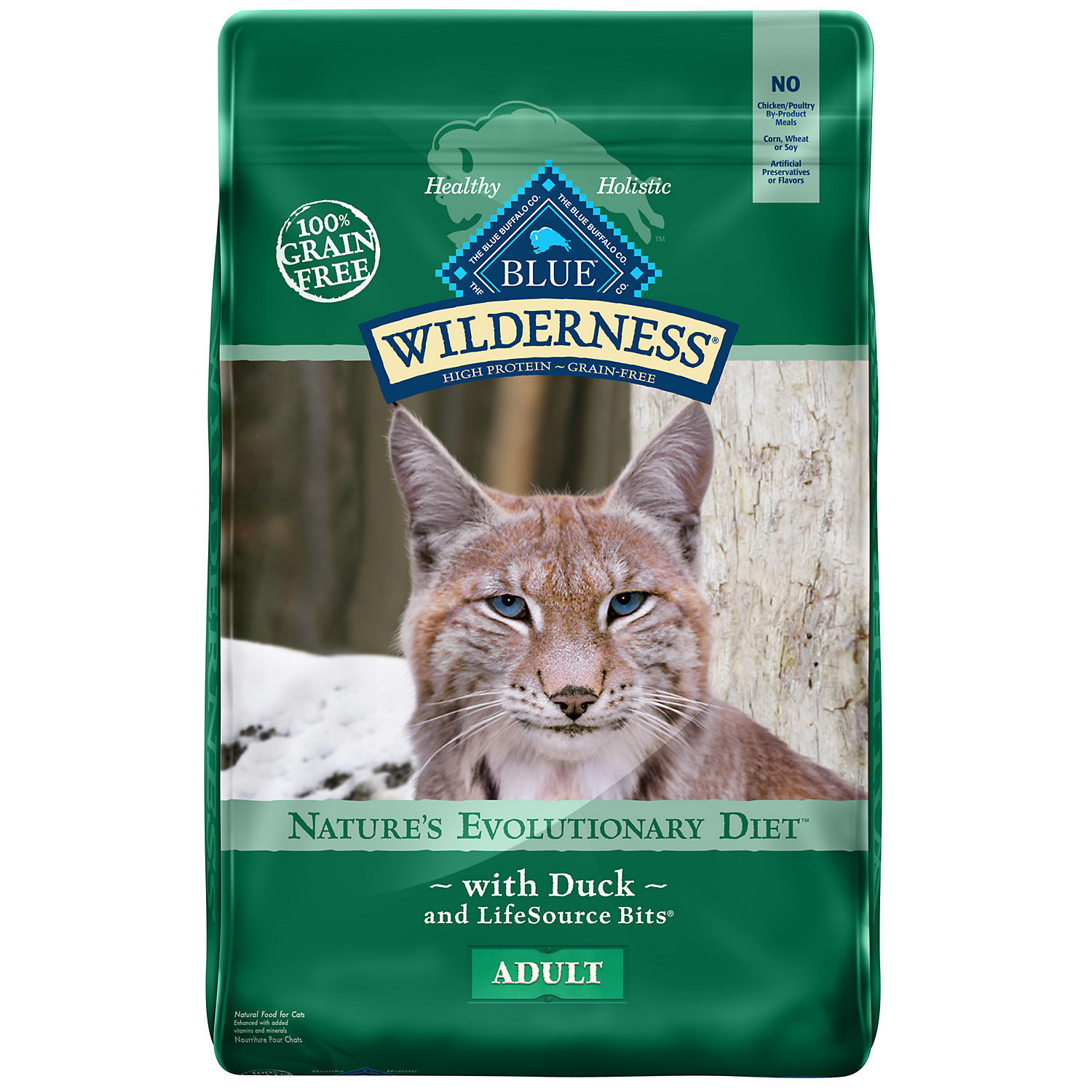 Blue Buffalo Wilderness Grain Free Duck Recipe Dry Cat Food 11-lb (7/18) (A.P2)