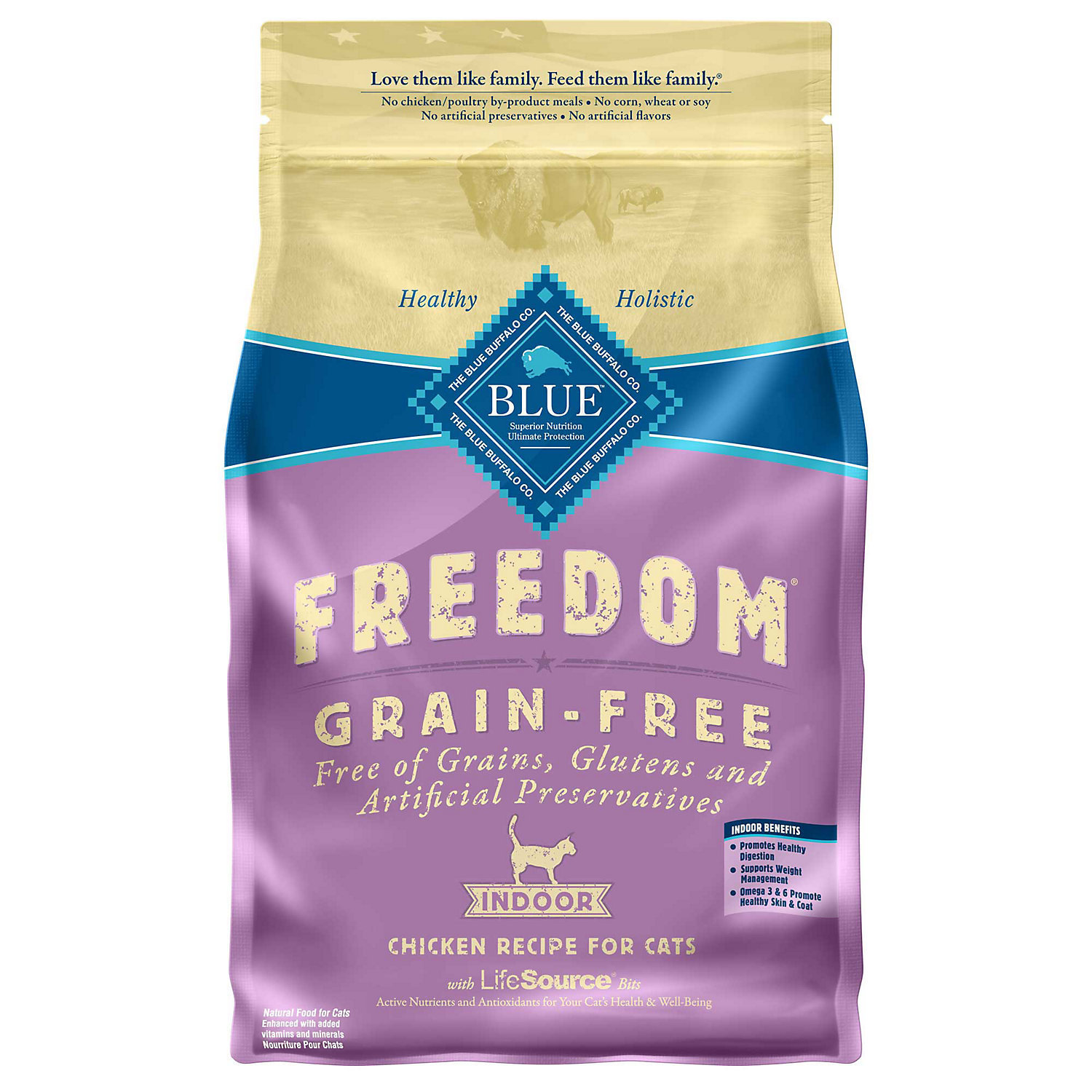 Blue Buffalo Freedom Grain Free Indoor Chicken Recipe Adult Dry Cat Food, 5 lbs. (7/18) (A.P4)