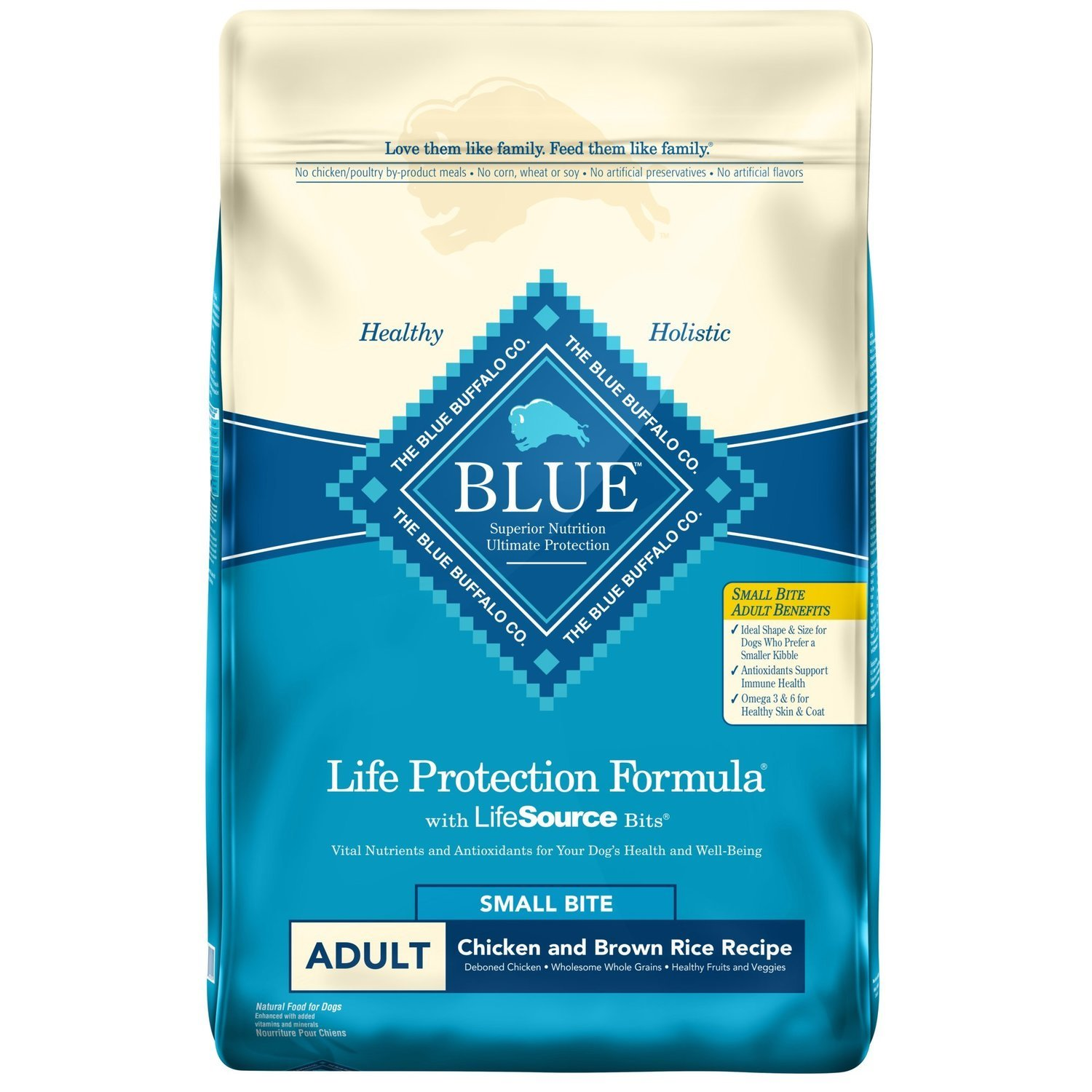 Blue Buffalo Life Protection Chicken & Brown Rice Small Bites Adult Dog Food, 15 lbs