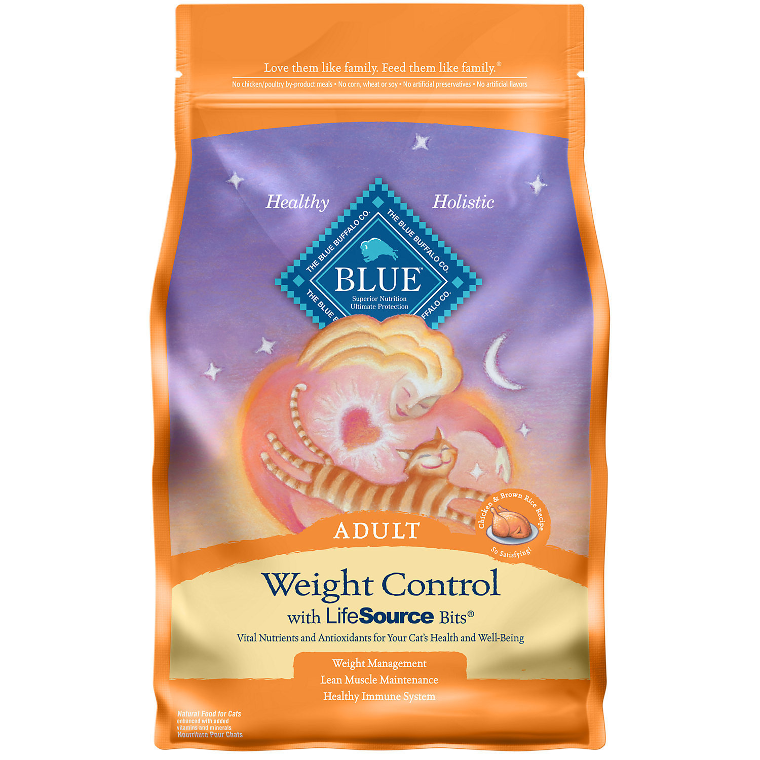 Blue Buffalo Weight Control Chicken & Brown Rice Adult Cat Food, 7 lbs. (2/19) (A.M1)