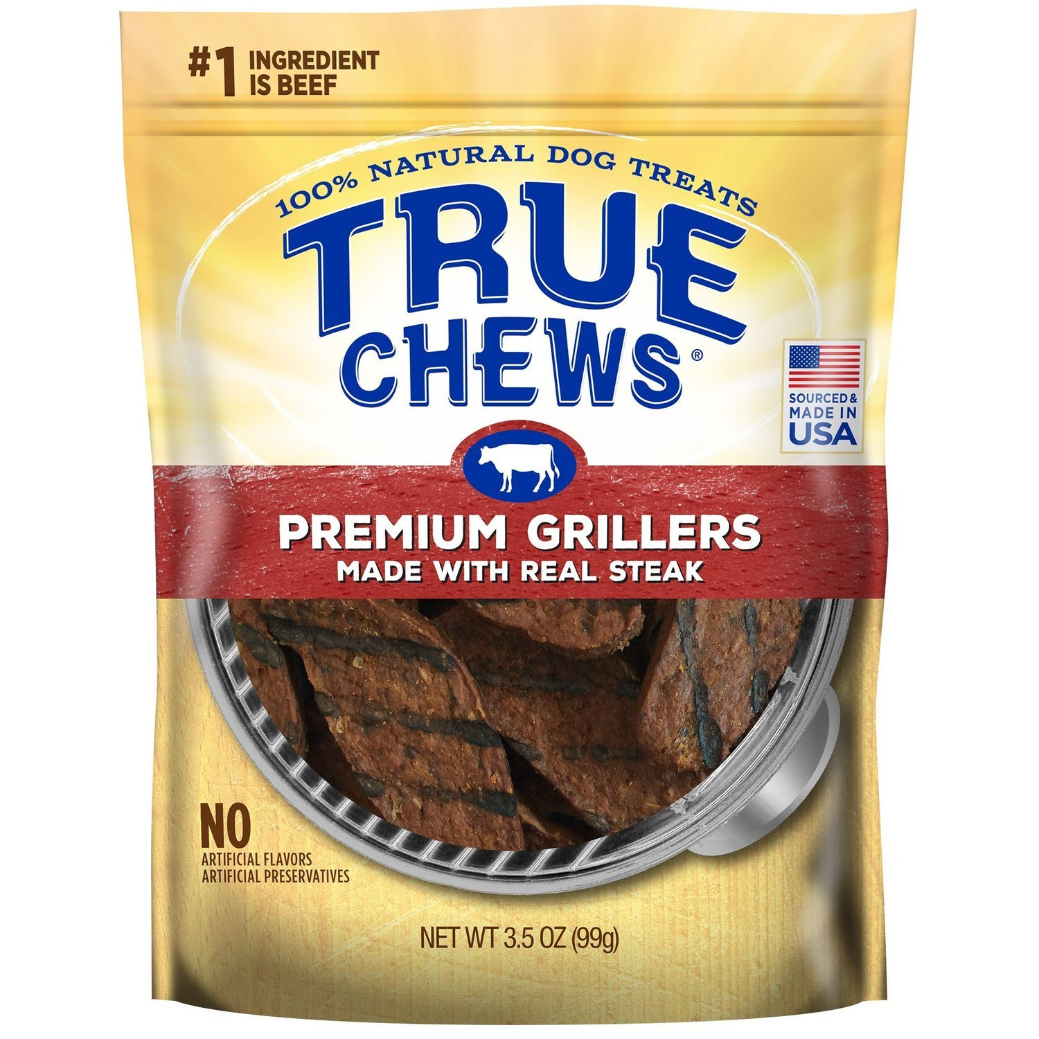 True Chews Premium Grillers Made with Real Steak Natural Dog Treats, 3.5 oz. (12/18) (T.A6)