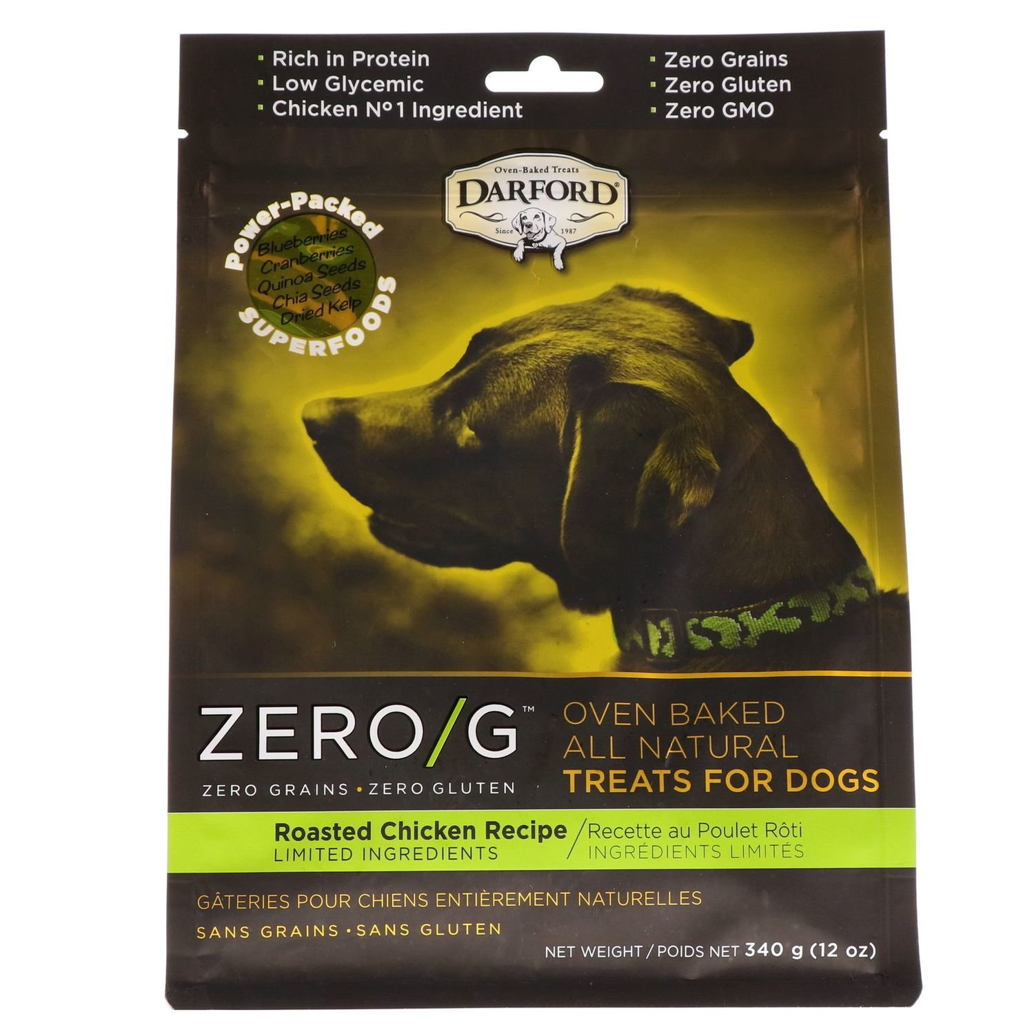 Darford Zero/g Oven Baked All Natural Dog Treats Roasted Chicken 12oz (2/19) (T.D5)