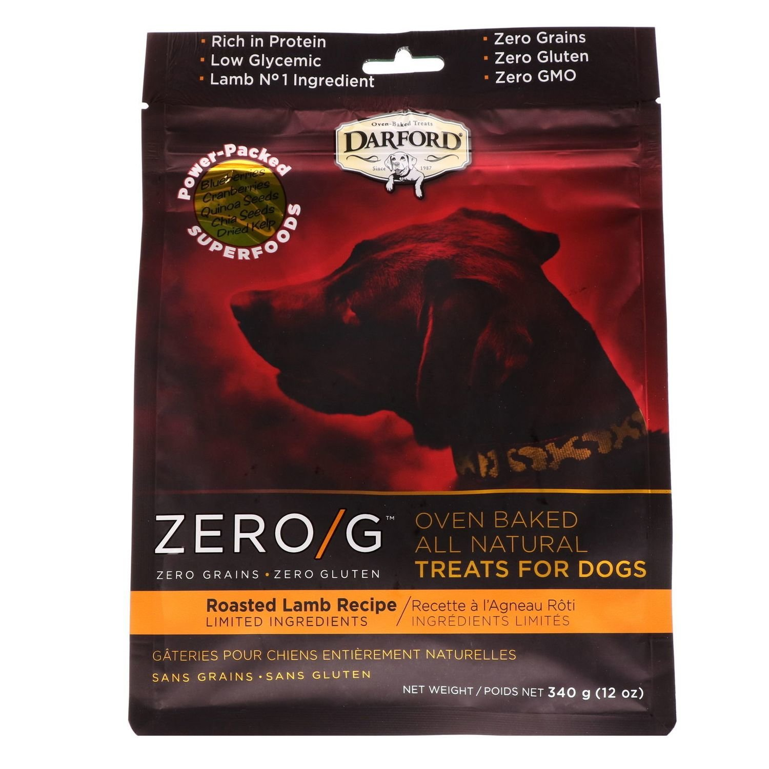 Darford Zero/g Oven Baked All Natural Dog Treats Roasted Lamb 12oz (2/19) (T.F2/DT)