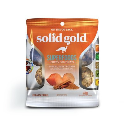 Solid Gold Grain Free Turkey, Sweet Potato & Cinnamon Natural Chewy Dog treats 2 oz (2/19) (T.D4)