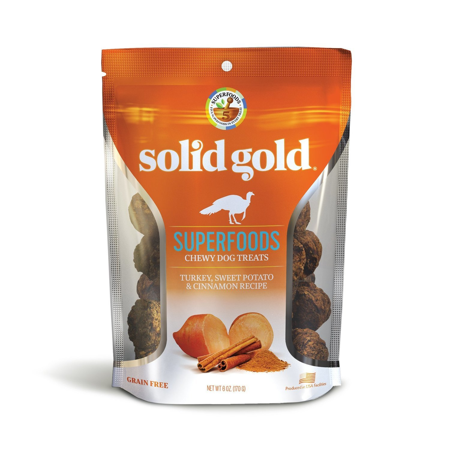 Solid Gold Grain Free Turkey, Sweet Potato & Cinnamon Natural Dog treats 6 oz. (2/19) (A.H3/DT)