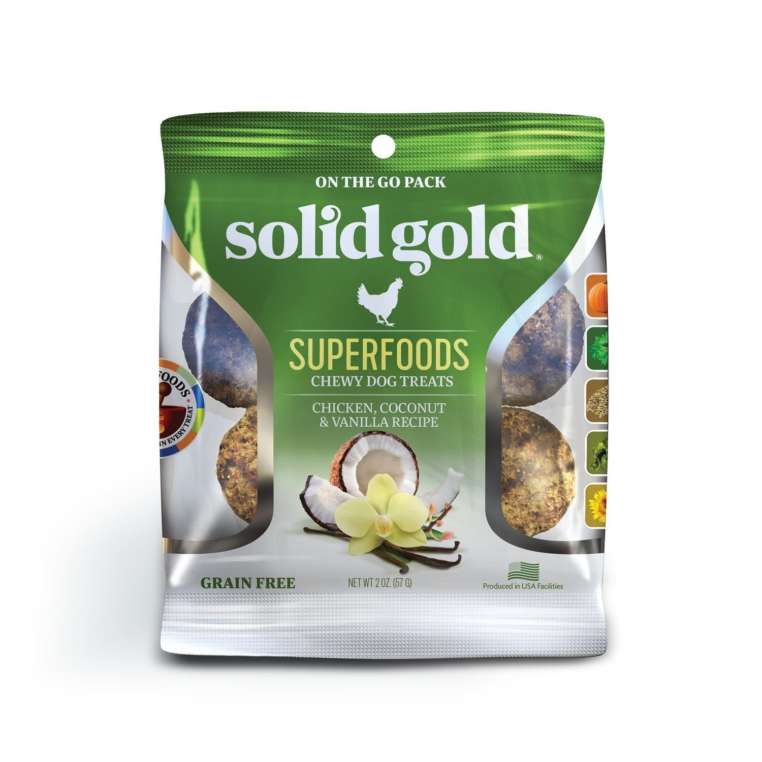 Solid Gold Grain Free Chicken, Coconut & Vanilla Natural Chewy Dog treats 2 oz.(2/19) (T.C14)