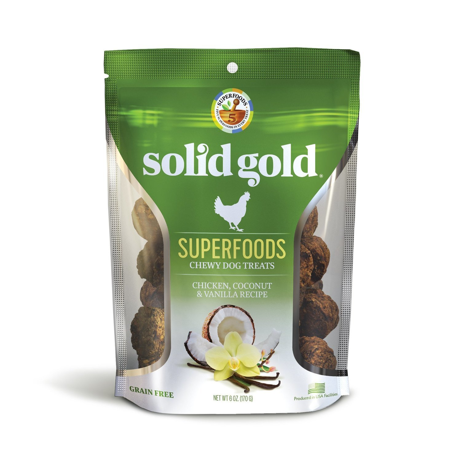 Solid Gold Grain Free Chicken, Coconut & Vanilla Natural Chewy Dog Treats, 6 oz. (2/19) (T.F3)