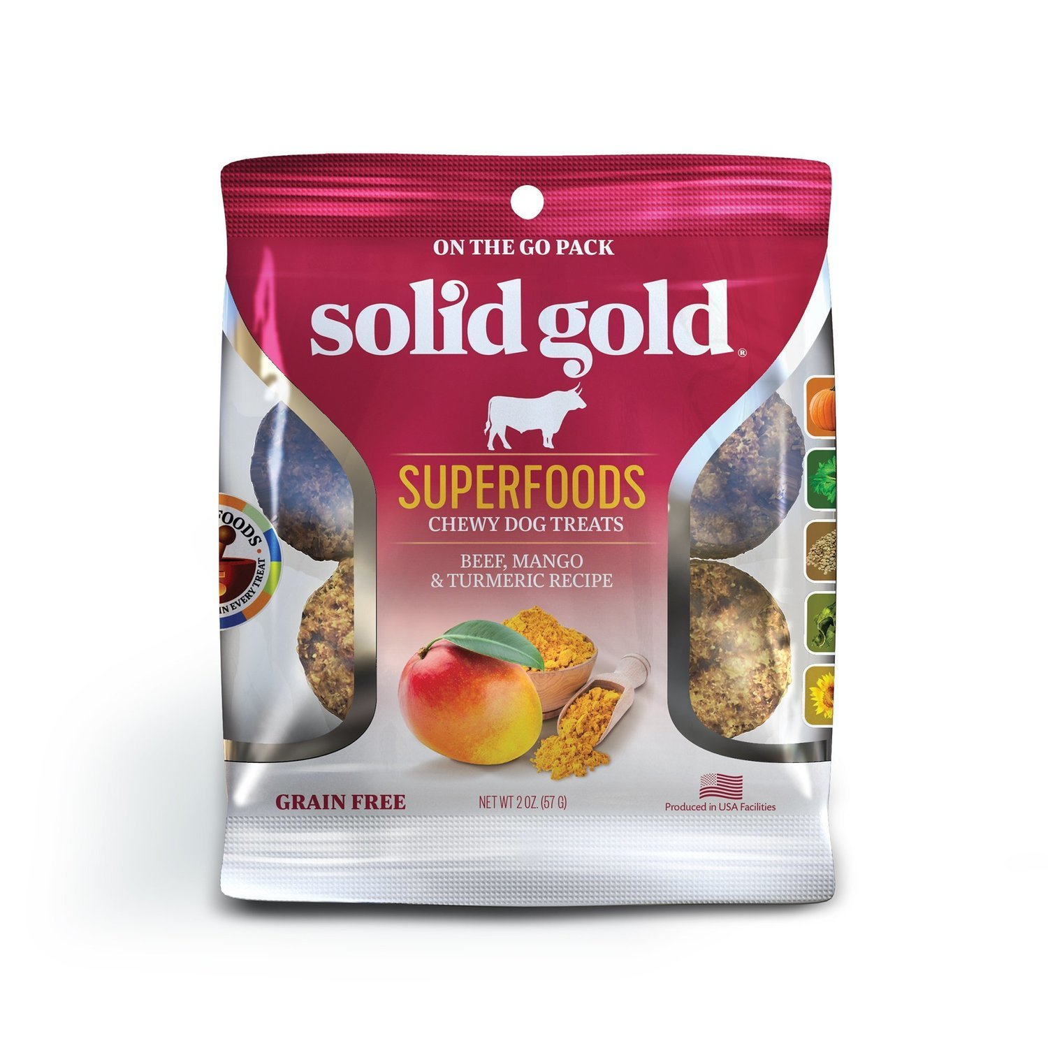 Solid Gold Grain Free Beef, Mango & Turmeric Natural Chewy Dog Treats, 2 oz. (2/19) (T.E3)