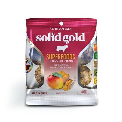 **SALE** Solid Gold Grain Free Beef, Mango & Turmeric Natural Dog Treats, 2 oz. (2/19) (T.E3/DT)