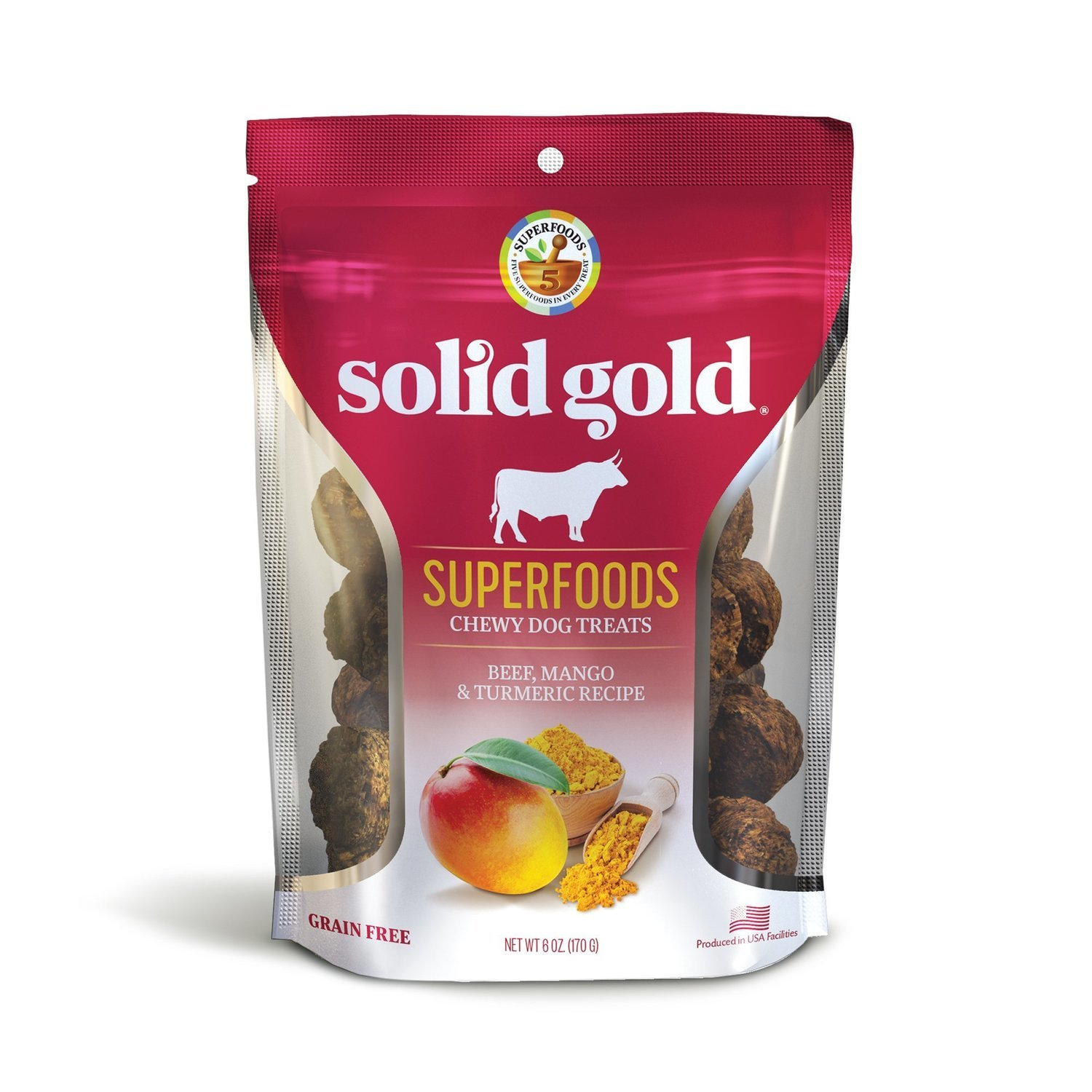 **SALE** Solid Gold Grain Free Beef, Mango & Turmeric Natural Dog treats 6 oz. (2/19) (A.B3/H3/DT)