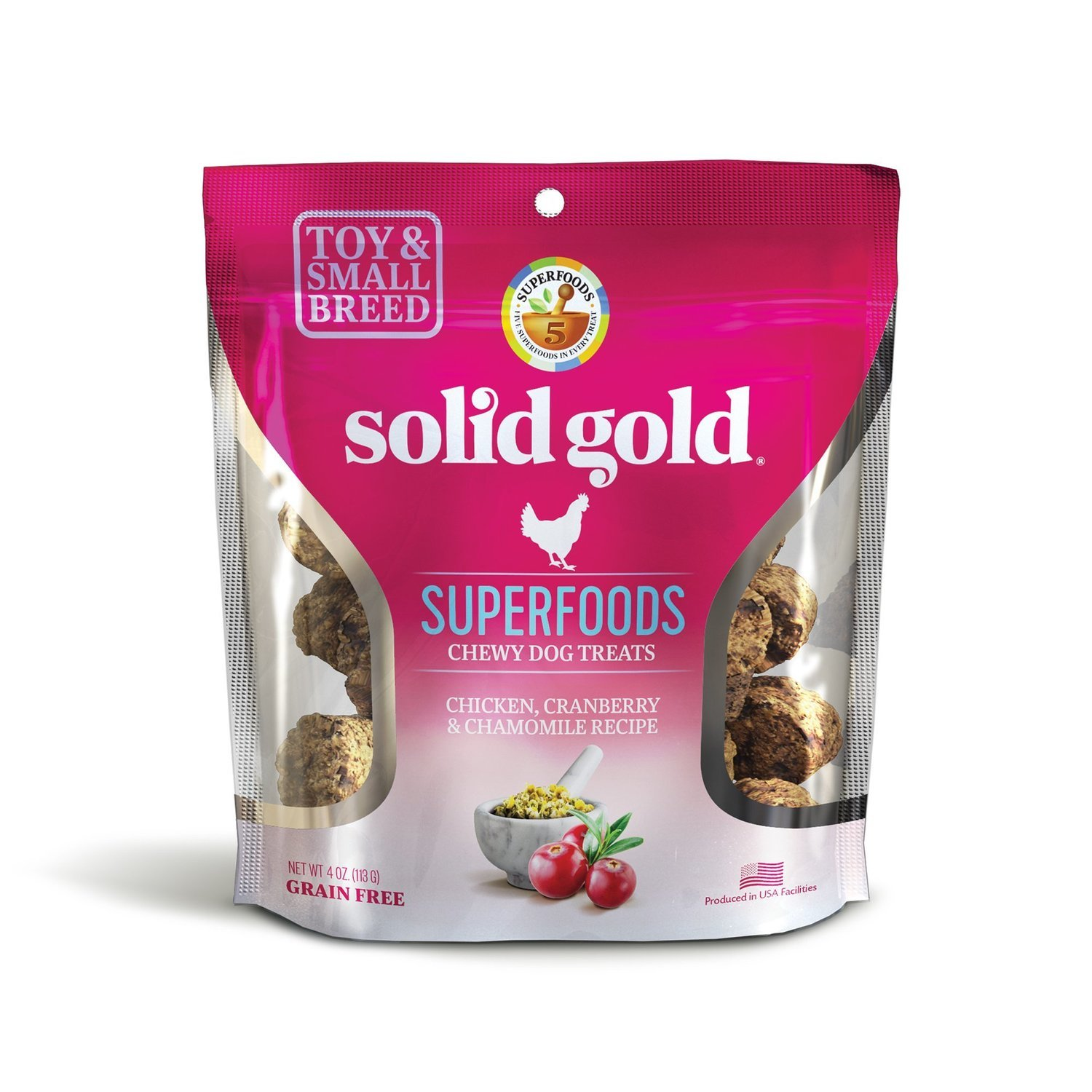 Solid Gold Grain Free Chicken, Cranberry & Chamomile Small & Toy Breed Chewy Dog Treats 4 oz. (2/19) (T.D4)
