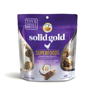 **SALE** Solid Gold Grain Free Chicken, Coconut Milk & Chia Seed Small & Toy Breed Treats 4 oz. (2/19) (T.E4/A.H1/DT)
