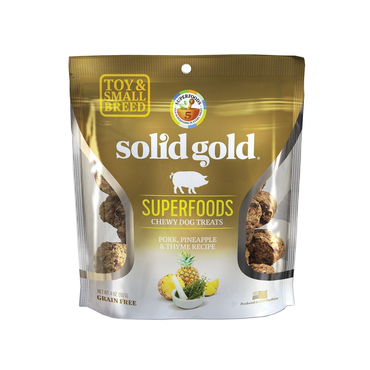 **SALE** Solid Gold Grain Free Pork, Pineapple & Thyme Small & Toy Breed Dog Treats 4 oz. (2/19) (T.D9/A.H1)