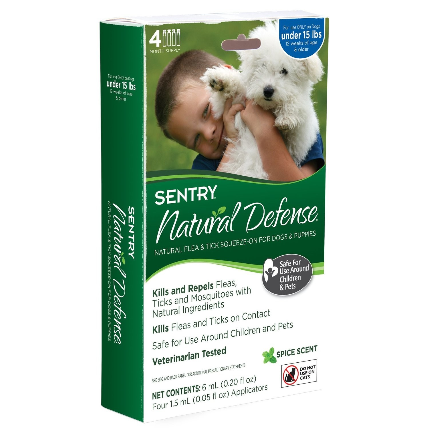 Sentry 4 Count Natural Defense Flea and Tick Squeeze-On for Dogs Under 15-Pound *May Ship Out of Package* (O.E1)