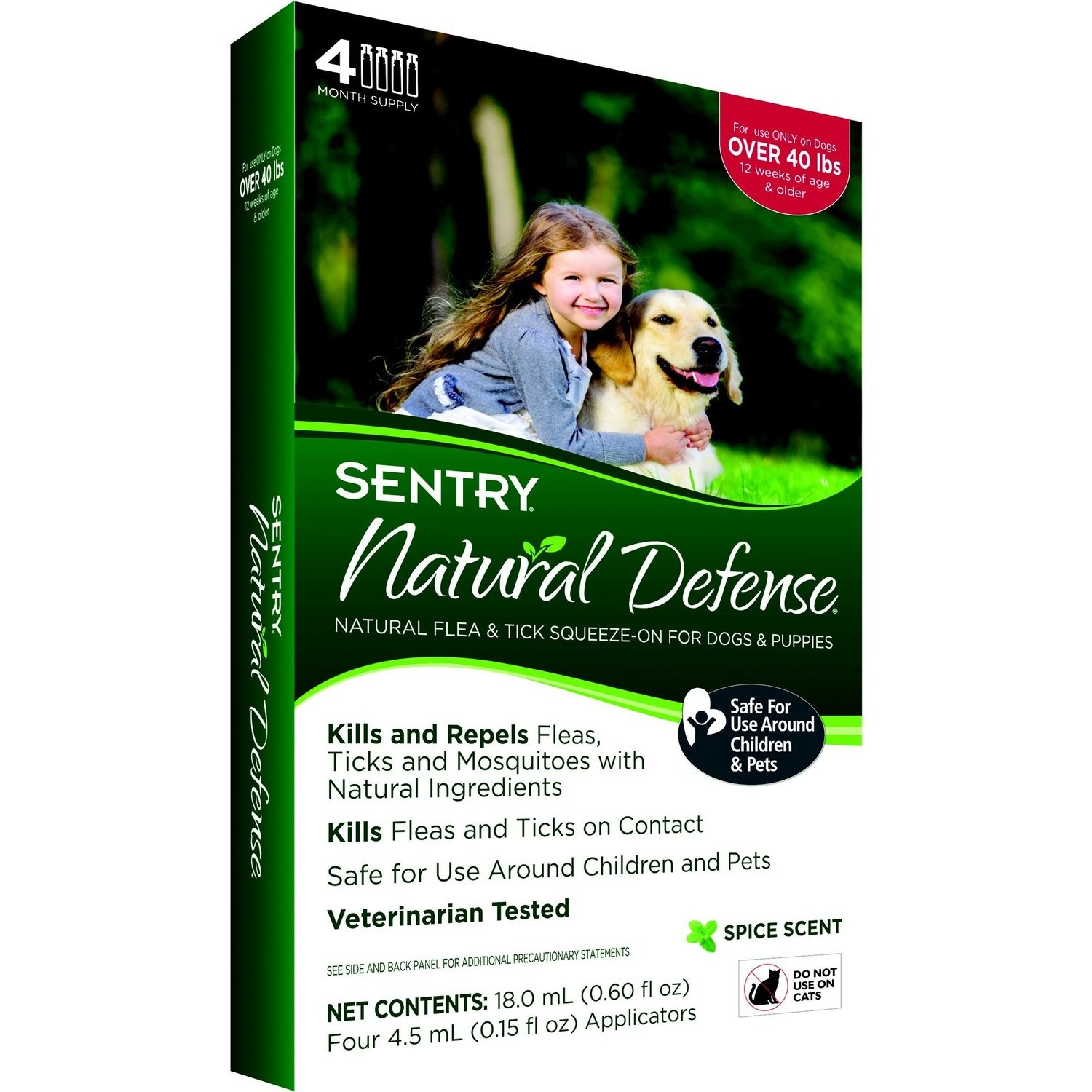 **SALE** Sentry 4 Count Natural Defense Flea and Tick Squeeze-On for Dogs, 15 to 40-Pound *May Ship Out of Package* (O.E1)