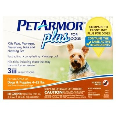 PetArmor 3 Count Plus for Dogs Flea and Tick Squeeze-On, 4-22 lb. *May Ship Out of Package* (O.F2/PR)