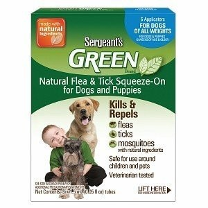 Sergeant's Green Dog Flea & Tick Squeeze-On, One Size Fits All, 6 ea **May Ship Out of Box** (O.J3)