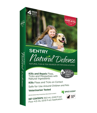 Sentry 4 Count Natural Defense Flea and Tick Squeeze-On for Dogs Over 40-Pound *May Ship Out of Package* (O.E3/E4)