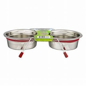 Loving Pets Silent Double Diner Bowl - 1 PINT - RED