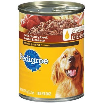 Pedigree Meaty Ground Dinner With Chunky Beef, Bacon & Cheese Dog Food 22 Oz 12 count (8/18) (A.G1/B)