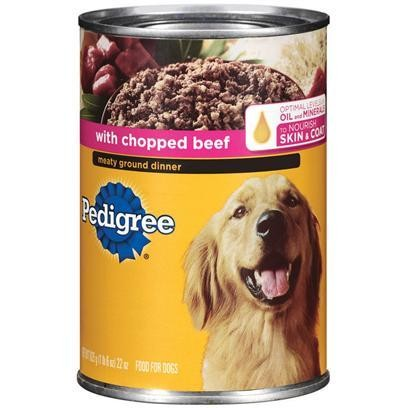 Pedigree Meaty Ground Dinner With Chopped Beef Dog Food 22 Oz 12 Count (7/18) (A.H1)