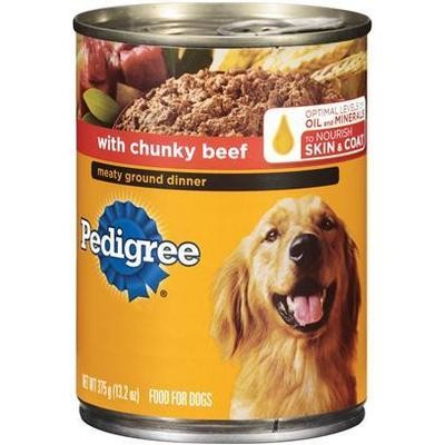 **SALE** Pedigree Meaty Ground Dinner With Chunky Beef Dog Food 22 Oz 12 Count (6/18) (B/DW)
