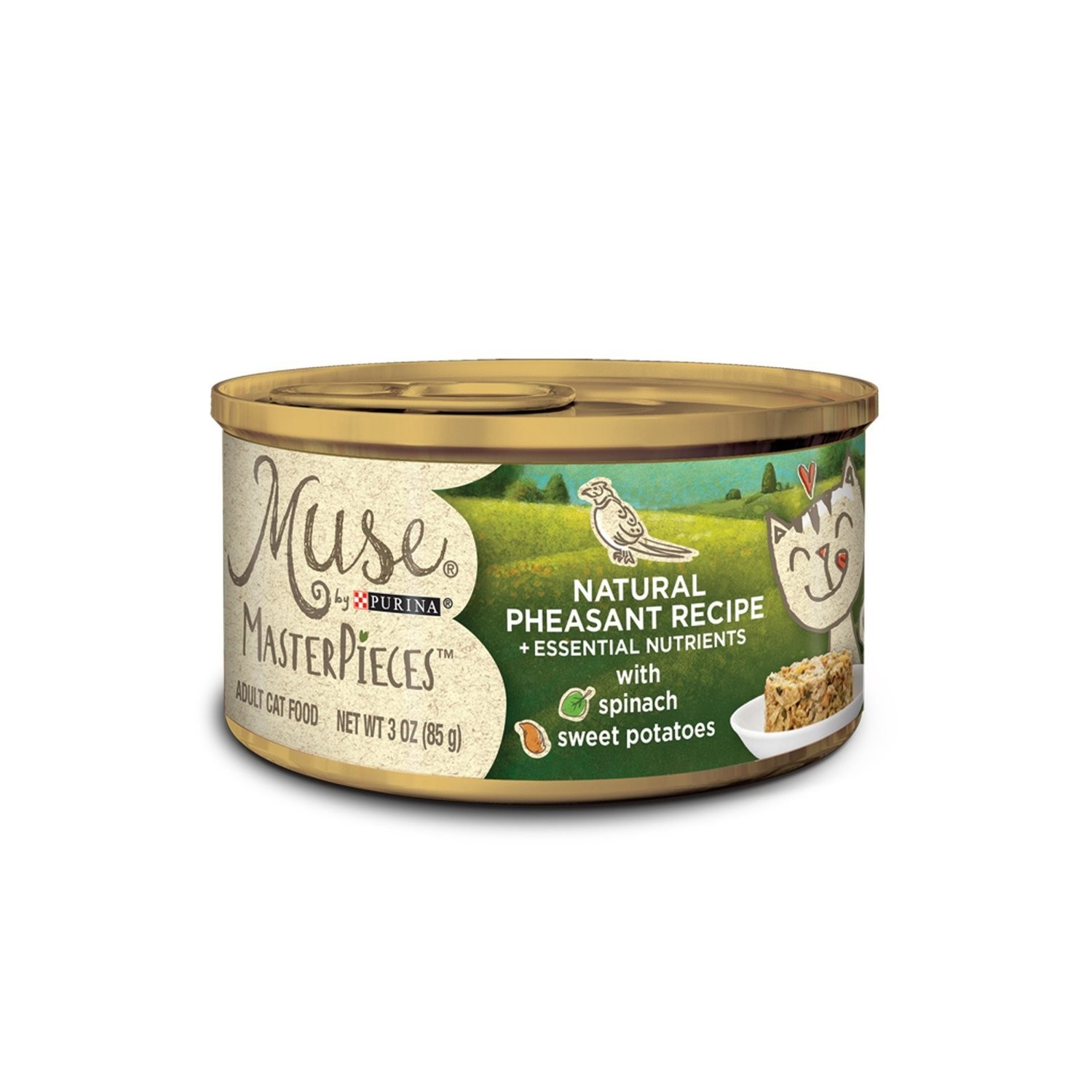Muse by Purina MasterPieces Natural Pheasant Recipe accented with Sweet Potato & Spinach 3 oz 24 count (5/18) (A.K5)