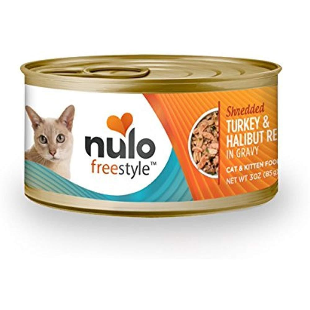 Nulo Freestyle Shredded Turkey & Halibut Recipe Can Cat 3 oz SINGLE CANS (6/20)