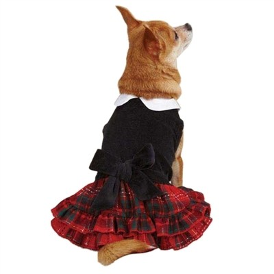 Tartan & Black Velvet Party Dress - MED