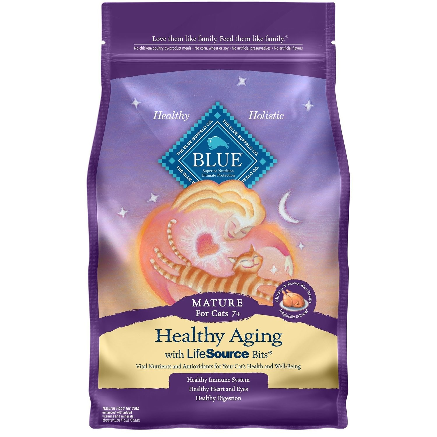 Blue Buffalo Healthy Aging Mature Chicken & Brown Rice CAT Recipe (7 Lb) (7/18) (A.I2)