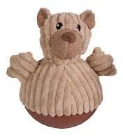 Chomper Cord O'roy Wobbling Lion Dog Toy - BEAR (B.A17)