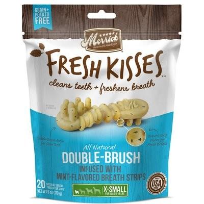 Fresh Kisses Mint Breath Strips Extra Small Brush Dental Dog Treats, 20 Count (3/19) (T.C7)