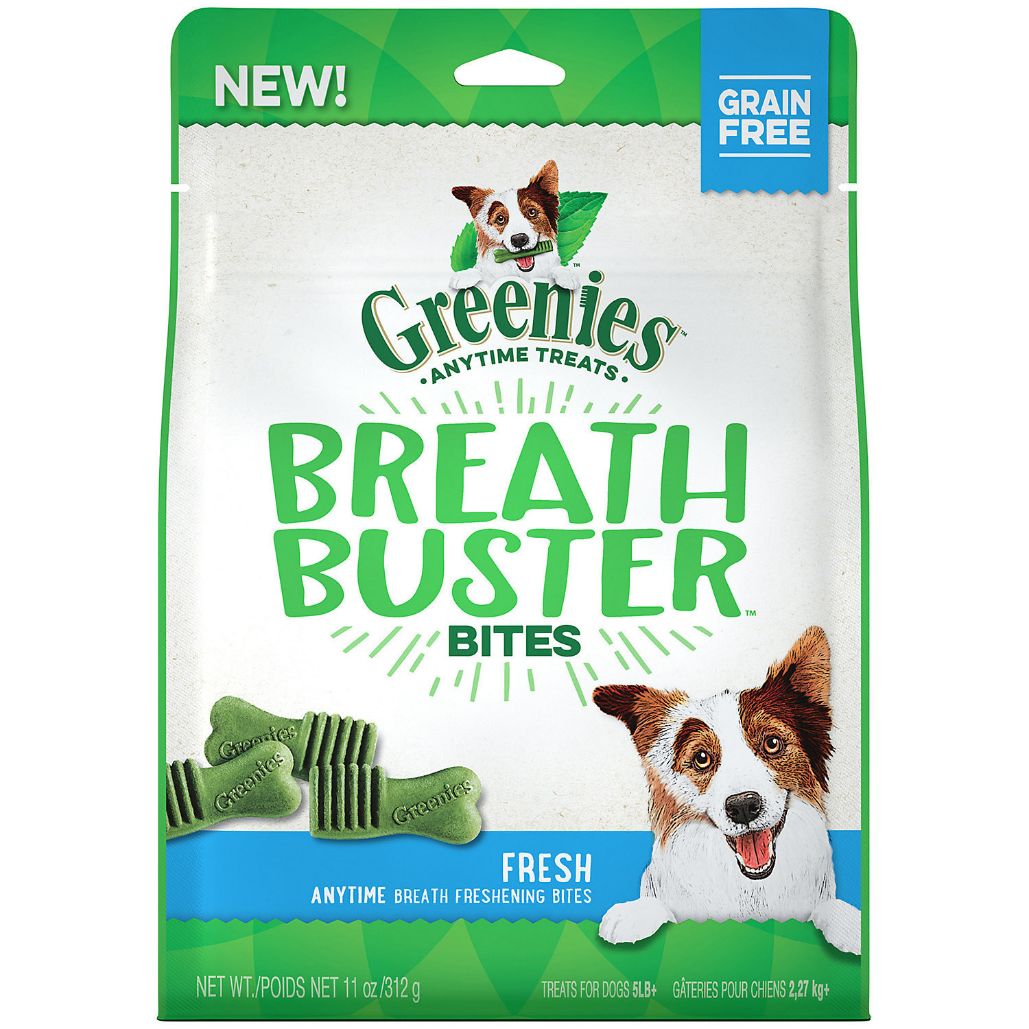 GREENIES BREATH BUSTER Bites Fresh Flavor Treats for Dogs, 11 oz.  (3/19) (T.B3/DT)