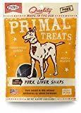 Primal Pet Foods Grain-Free Dry Roasted Pork Liver Snaps Dry Dog Treat, 4.25 oz (3/19) (T.B12)