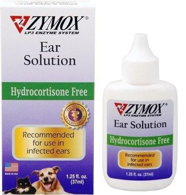 Zymox Hydrocortisone Free Pet Ear Solution Medication Treatment 1.25oz (1/20) (O.C1/PR)