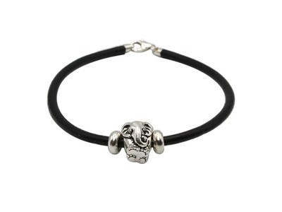 Black Leather Bracelet with Elephant Head Antique Pewter Bead