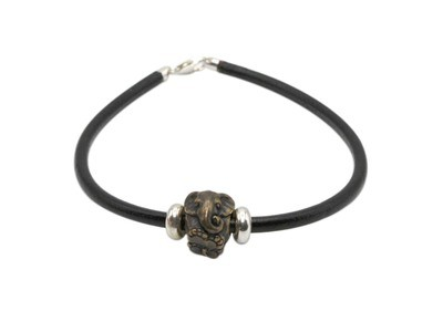 Black Leather Bracelet with Elephant Antique Gold Finish Bead