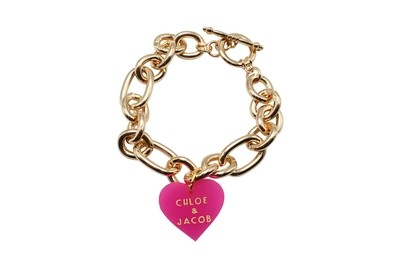 Custom Sweetheart Charm with Names on Decorative Rope Bracelet
