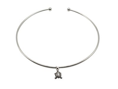 Silver Choker with Turtle Antique Silver Charm