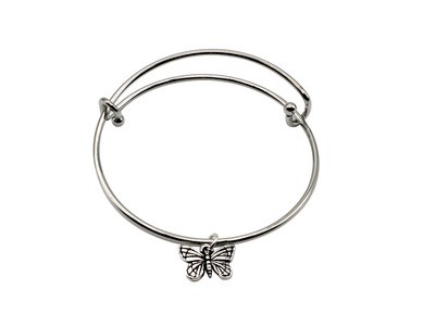 Expandable Bracelet with Butterfly Antique Silver Charm