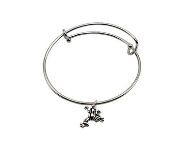 Expandable Bracelet with Frog Antique Silver Charm