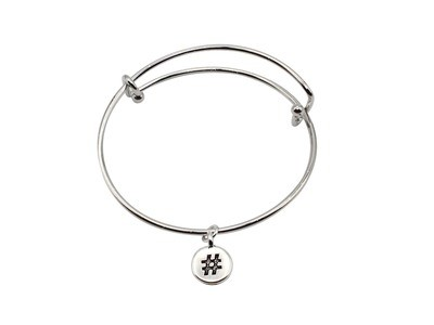 Expandable Bracelet with Hash Tag Antique Silver Charm