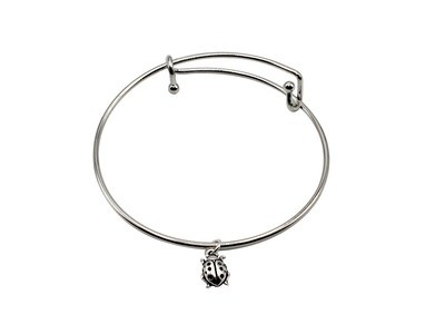 Expandable Bracelet with Ladybug Antique Silver Charm